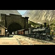 SWITZERLAND Vintage GOTTHARDBAHN Tunnel and Steam Engine Postcard, 1912. VG Condition, minor corner wear.  Unposted
