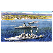 1938 Postcard Navy Battleships Long Beach, CA ,Posted, Sharp, Excellent Condition, 5 1/2 x 3 1/2 in.