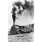 VIRGINIA BLUE RIDGE RR Steam Engine Locomotive at ROSE MILL, VA. Photo is 5 3/8 X 3 1/2 IN.  Postcard. Excellent Unposted Condition, Sharp Focus.