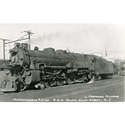 PENN RR  Railroad Locomotive #3750 RR Yard Pacific South Amboy, NJ,  RPPC Unposted Excellent Condition