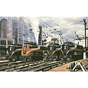 4 PENN Electric Engines Lined Up at Sunnyside, NY, 1954. Photo IS 5 3/8 X 3 1/2 IN. RPPC. Excellent Unposted Condition, Sharp Focus.