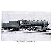 ROCK ISLAND RR Steam Engine Locomotive(oil-burning) #305, Brand-New in PHOTO 1925.  Unposted Excellent Condition