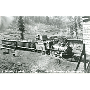 SOUTHERN PACIFIC RR Steam Engine Train Locomotive Photo Maybe in Timber Industry Late 1800's, CA is 5 3/8 X 3 1/2 IN. Printed as a  Postcard. Excellent Unposted Condition, Sharp Focus