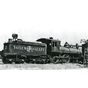 YOSEMITE VALLEY RR Steam Engine #21. Train Locomotive Photo is 5 3/8 X 3 1/2 IN. Printed as a Postcard. Excellent Unposted Condition, Sharp Focus.