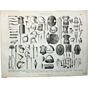 1860 Bilder Atlas Military print #1 Weapons and Rustics of Antiquity