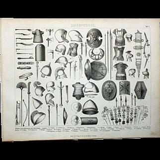 1860 Bilder Atlas Military print #1 Weapons and Rustics of Antiquity