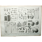 Roman Army War Weapons 1844 print Bilder Atlas, Leipzig