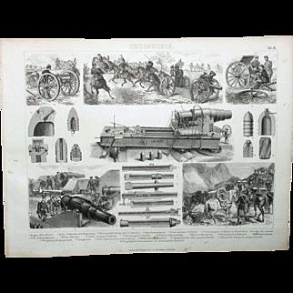 1874 German Bilder Atlas Military print #10 Early 1800's heavy artillery weapons.