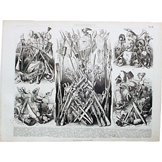 1860 Bilder Atlas Military print #12 Military Weapons, Head Gear,  of Early 1800's various European Countries.