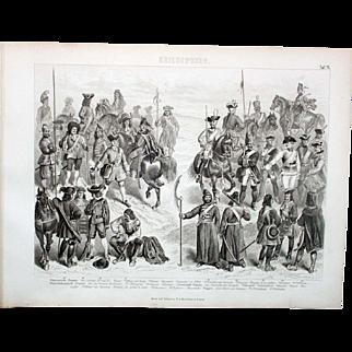1874 Bilder Atlas Military print #15 Louis XIV Era Europe Soldiers France Prussia.