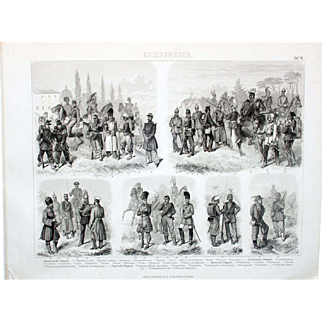 1860 Bilder Atlas Military print #18 Troops of France, Northern Germany, Russia, English.