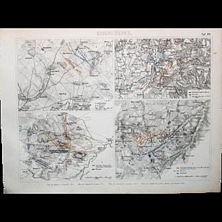 1860 Bilder Atlas Military print #20 Military Maps-Breitenfled(1631), Leuthen(1757), Austerlitz(1805), Waterloo(1815)