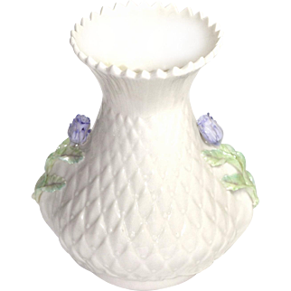 Belleek Porcelain Green 1955-1965 Mark, Purple Thistle on 2 Sides.  Excellent condition