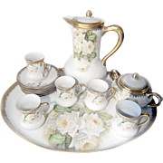 C.B. Prussia Tea Set with Platter, 5 Tea Cups, 6 Tea Saucers, Sugar Bowl, and Tea Pot.