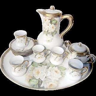 C.B. Prussia Tea Set with Platter, 5 Tea Cups, 6 Tea Saucers, Sugar Bowl, and Tea Pot.