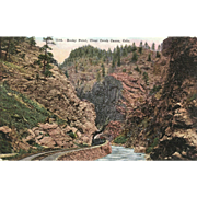 Postcard Colorado RR Train Steam Locomotive on Railroad through Rocky Point, Clear Creek, Canon, CO, Unposted, VG Condition, 5 1/2 x 3 1/2 in.