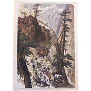 1879 Frank Leslie's Illustrated Newspaper Hand Colored Lithograph of Construction of Corduroy Road to Leadville, CO