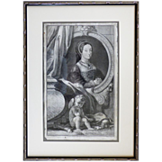 18th C Houbraken Engraving After Holbein Queen Catherine Howard Henry VIII