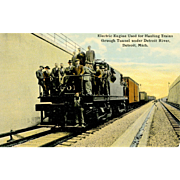 Postcard Electric RR Engine Hauls Trains through Tunnel under Detroit River , Unposted, VG Condition, 5 1/2 x 3 1/2 in.