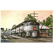 NYC New York Central RR Train Post Card from a Painting by Harold Fogg, noted artist of Railroads. Engine #4201 Staatsburg ny
