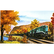 NYC New York Central RR Train Post Card from a Painting by Harold Fogg, noted artist of Railroads.  Pittsburgh & Lake Erie Westbound coal train near Beaver Falls, PA.