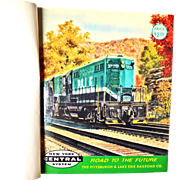 """NEW YORK CENTRAL SYSTEM ROAD TO THE FUTURE"" Contains 66 Postcards of Howard Fogg Paintings Bound in a Blue-Green Buckram Hardcover book"