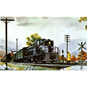 NYC New York Central RR Train Post Card from a Painting by Harold Fogg, noted artist of Railroads.  NYC's Pittsburgh & Lake Erie Crossing Berkshire Hills.
