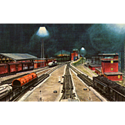 New York Central RR Train Post Card from a Painting by Harold Fogg, noted artist of Railroads.  NYC's Pittsburgh & Lake Erie RR Gateway Yard near Youngstown, OH.
