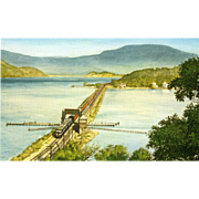 NYC New York Central RR Train Post Card from a Painting by Harold Fogg, noted artist of Railroads.  NYC's Pittsburgh & Lake Erie Crossing Peekskill Draw Bridge.
