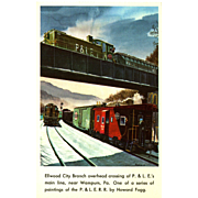 P.&L.E. Line RR Train Post Card from a Painting by Harold Fogg, noted artist of Railroads.  Ellwood City Branch Overhead Crossing near Wampum, PA.