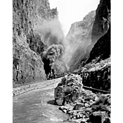 B&W Photo Negative of 1915 Steam Engine RR  Railroad in the Royal Gorge, Grand  Canyon of the  Arkansas, Colorado