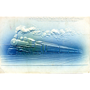 "Original Embossed PC NY Central RR Twentieth Century Express, ""The Fastest Long Distance Train in the World ""Steam Locomotive. VG Condition"