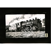 NYO&W RR Train Engine 305 and Tender B&W 3 1/2 x 6 Photo.