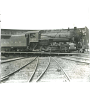 NYO&W RR Train Engine 316 and Tender on Turntable B&W 3 1/2 x 6 Photo.