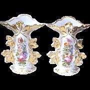 Pair Old Paris Porcelain Vases