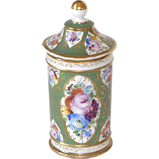Old Paris Porcelain Covered Beaker Hand Painted Botanical and Gold Design