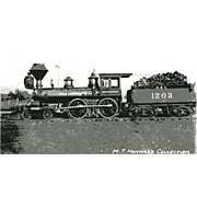 OREGON CALIFORNIA RR Steam Engine #1203. Train Locomotive Photo is 5 3/8 X 3 1/2 IN. Printed as a Postcard. Excellent Unposted Condition, Sharp Focus.