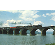 Pennsylvania Railroad Dual RR Steam Engines Crossing Rockville Bridge, 1985, RPPC Unposted, Excellent Condition