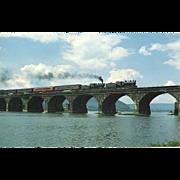 Pennsylvania Railroad Dual RR Steam Engines Crossing Rockville Bridge, 1985, RPPC Unposted, Excellent Condition