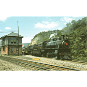 2 PENN RR Steam Engines #7002 & 1223 Train Locomotives at Rockville Tower, PA, 8/23/85 RPPC. Excellent Post Card Unposted Condition, 5 3/8 X 3 1/2 IN.