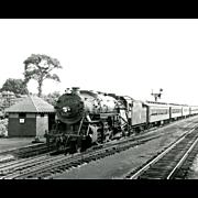 8X10 ERIE RR Original  Photo Steam Engine #889 Passenger Train Underway Excellent Condition
