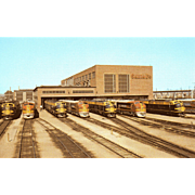 Color Photo Santa Fe RR Railroad Line-up of 7 Diesel Locomotives. Argentine, KS. Excellent Condition  Original RPPC