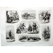 1860 Bilder Atlas Military print #25 Military Troops Encampments-Prussian, North Germany.