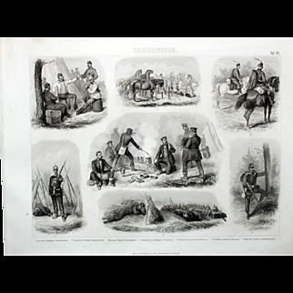 1860 Bilder Atlas Military print #25 Military Troops Encampments-Prussian, North Germany.