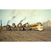 SEABOARD  Railroad Locomotive Line Up in Washington DC, 1946 RPPC Unposted Excellent Condition
