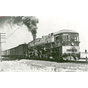 SOUTHERN PACIFIC RR Steam Engine #4232 Railroad Locomotive near Martinez, CA RPPC Unposted Excellent Condition