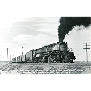 UNION PACIFIC RR Railroad Line Steam Locomotive #4008 RPPC