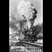 VIRGINIA BLUE RIDGE RR Steam Engine Locomotive at ROSE MILL, VA. Bridge. Photo is 5 3/8 X 3 1/2 IN.  Postcard. Excellent Unposted Condition, Sharp Focus.