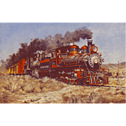 VIRGINIA TRUCKEE RR Train Steam Engine #25 Locomotive as Shown in a Painting by HOWARD FOGG. Printed as a Postcard. Excellent Unposted Condition,  5 3/8 X 3 1/2 IN.