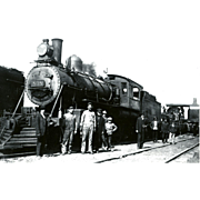 Virginia & Truckee Railroad RR Steam Engine #808. Photo is 5 3/8 X 3 1/2 IN. RPPC. Excellent Unposted Condition, Sharp Focus.   Crew Members Shown